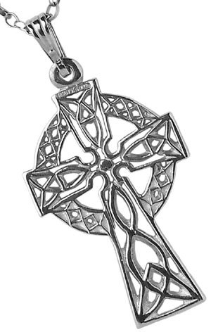 White Gold or Silver Filigree Celtic Cross