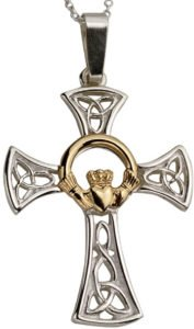 Sterling Silver Celtic Cross with 10k Yellow Gold Claddagh Centre