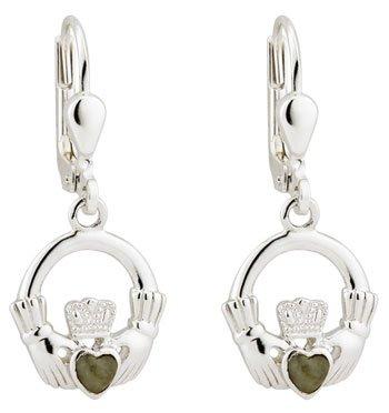 Silver Claddagh Marble Earrings
