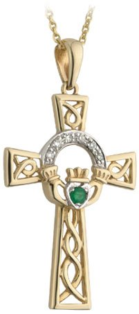14k Gold Diamond and Emerald Claddagh Cross