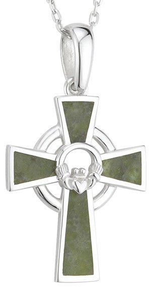 Silver Claddagh Center Connemara Marble Celtic Cross