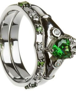 Sterling Silver Emerald and Cubic Zirconia Two Band Claddagh