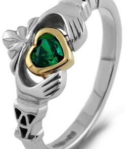 Ladies Silver and Gold Claddagh with Green and Gold Center