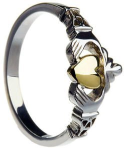 Ladies Silver New York Claddagh with 10k Gold Center