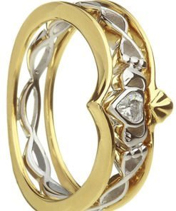 Stone Set Two Tone Claddagh Ring