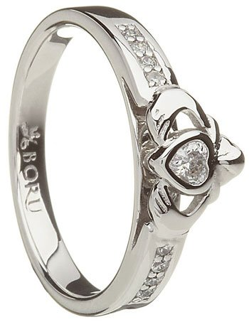 Stone Set Sterling Silver Claddagh Ring