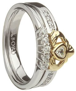 Two Tone Stone Set Claddagh with Matching Band