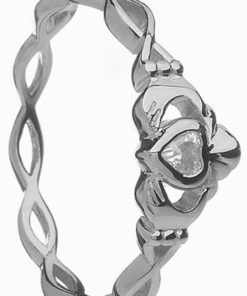 White Gold Stone Set Claddagh with Twisted Shank