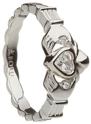 Heavy Sterling Silver Stone Set Claddagh Ring