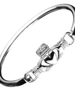 Claddagh Sterling Silver Wire Bangle