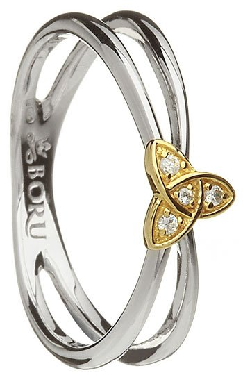 Ladies Silver and 10k Yellow Gold Trinity Stone Set Ring