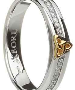 Ladies Sterling Silver C.Z. Band with 10k Gold Trinity Knot Detail