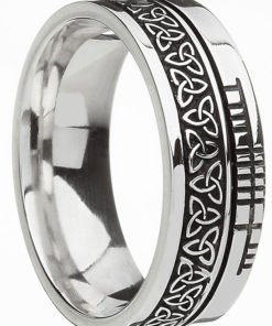 Sterling Silver Trinity Knot with Ogham Script Band