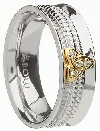 Wide Silver and 10k Gold Trinity Knot Ring