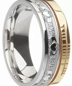 Two Tone Gold Claddagh Band with Ogham Script