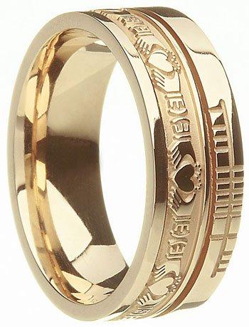 Claddagh Style Ogham Wedding Ring