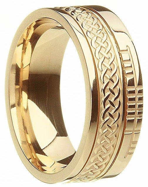 Gold Celtic Knot Ogham Wedding Ring