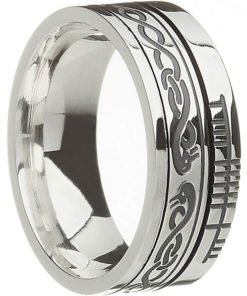 Sterling Silver 'Le Cheile' with Ogham Script Wedding Ring