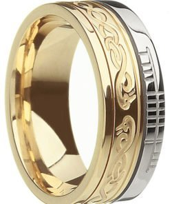 Two Tone Gold 'Le Cheile' Celtic Knot Band with Ogham Script
