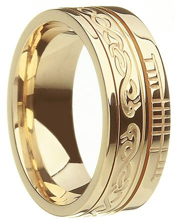Gold 'Le Cheile' Celtic Knot Ogham Wedding Ring