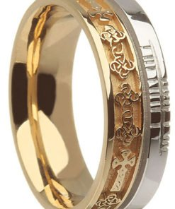 Two Tone Gold Celtic Cross Band with Ogham Script