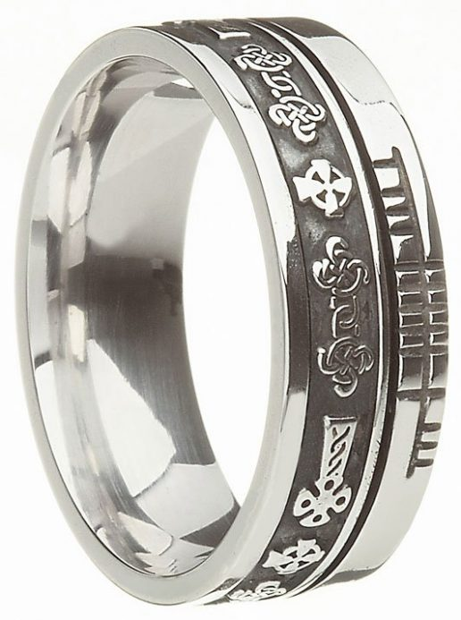 Sterling Silver Celtic Cross with Ogham Script Band