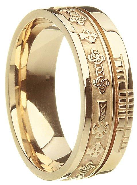 Gold Celtic Cross Ogham Wedding Ring