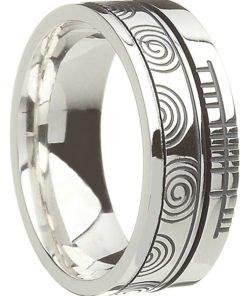 Sterling Silver Newgrange Spiral with Ogham Script