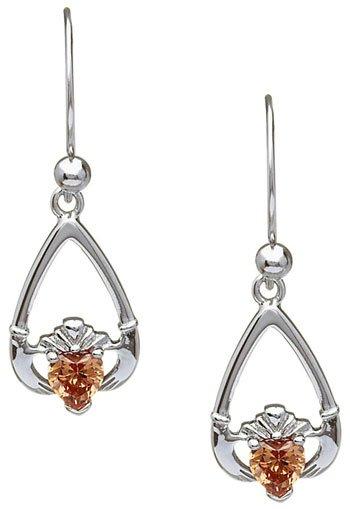 November Birthstone Claddagh Earrings