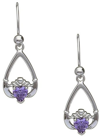 February Birthstone Claddagh Earrings