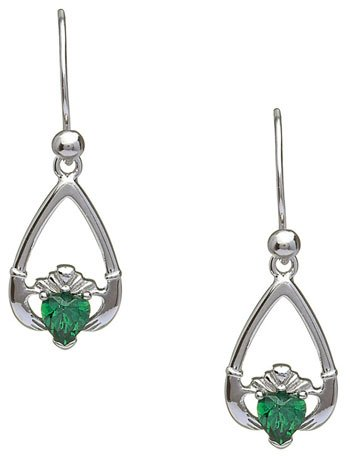 April Birthstone Claddagh Earrings
