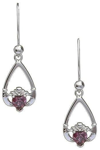 June Birthstone Claddagh Earrings