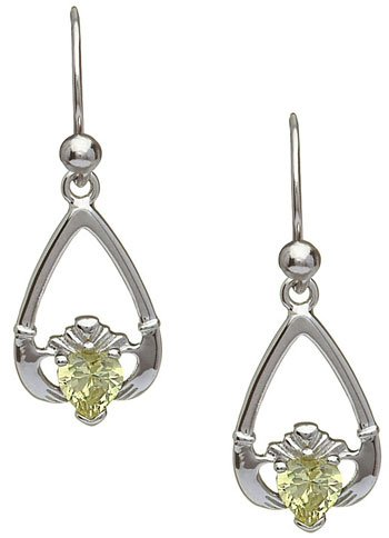August Birthstone Claddagh Earrings