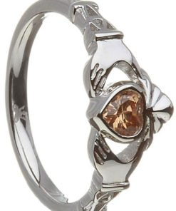 November Birthstone Claddagh Ring – Citrine Cubic Zirconia