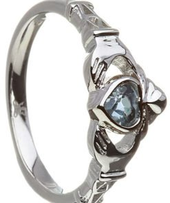 December Birthstone Claddagh Ring – Blue Topaz