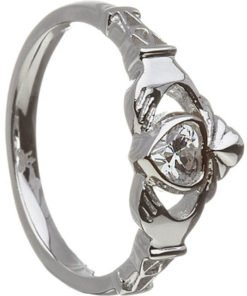 April Birthstone Claddagh Ring – Cubic Zirconia