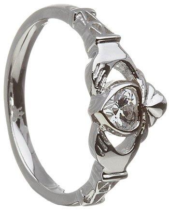 April Birthstone Claddagh Ring – Cubic Zirconia