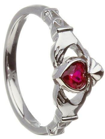 July Birthstone Claddagh Ring