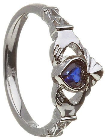 September Birthstone Claddagh Ring – Sapphire