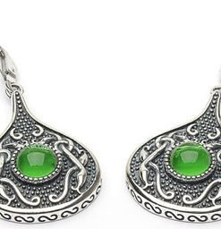 Sterling Silver Wood Quay Teardrop Earrings with Green Glass Stone