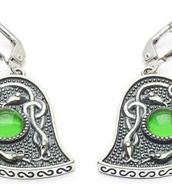 Sterling Silver Wood Quay Heart Shaped Earrings with Green Glass Stone