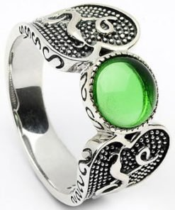 Sterling Silver Wood Quay Ring with Green Glass
