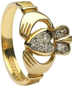 Gold Claddagh Diamond Pave Ring
