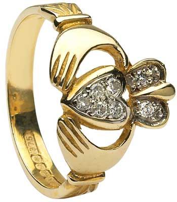 Gold Claddagh Diamond Pave Ring