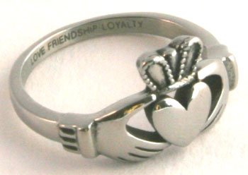 Ladies Engraved Stainless Steel Claddagh Ring