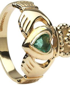 Ladies Gold Emerald Heart Claddagh Ring