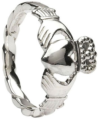 Sterling Silver Twist Shank Claddagh Ring