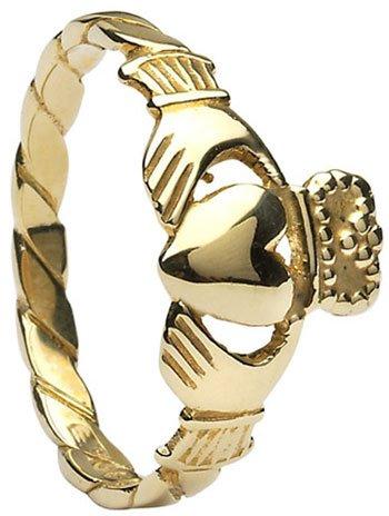 Yellow Gold Twist Shank Claddagh Ring