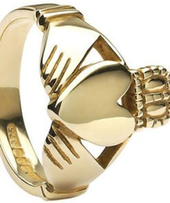Mens Gold Heavy Claddagh Ring