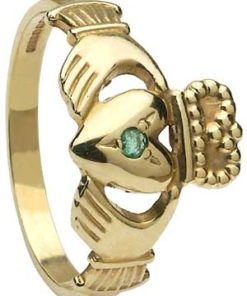 Ladies Gold Emerald Set Claddagh Ring